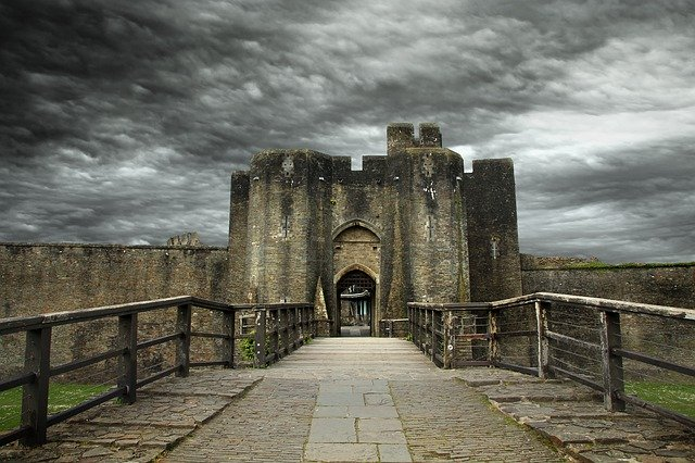 Caerphilly Castle in South Wales