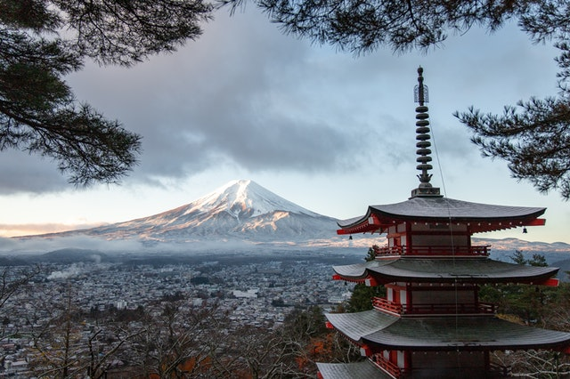 Mount Fuji and a pagoda in Japan