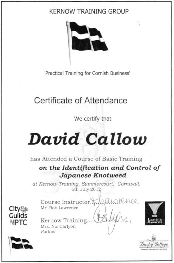 Certificate of Japanese knotweed training in Cornwall